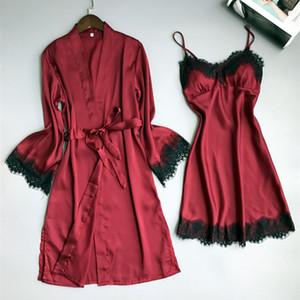 Pyjamas Femmes Sexy manches courtes Sling Sleeping Jupe Summer glace robe de chambre en soie deux ensembles de service à domicile en soie avec coussin de poitrine