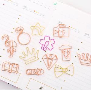 Metal rosa oro clips de papel creativo DIY mini memo notas carta clips clips artesanales marcadores papelería útiles escolares material de oficina