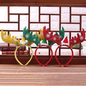 Nuevas decoraciones navideñas Cornamenta de Navidad Bandas de pelo Lentejuelas rojas Copo de nieve No tejido Diadema Fiesta de cumpleaños Suministros de fiesta de cumpleaños WX9-759