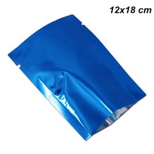 12x18cm 100 Pz Blu Foglio di Alluminio Piatto Aperto Top Borse Sigillante Sigillante Termico Cibo Secco Fiori Imballaggio Sacchetto Vuoto Mylar Caffè Bean Baggies