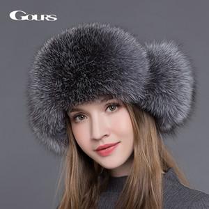 Gours Cappello di pelliccia per le donne Natural Raccoon Fox Fur Russian Ushanka Hats Winter Spessore Warm Ears Fashion Bomber Cap Nero Nuovo arrivo C18111601