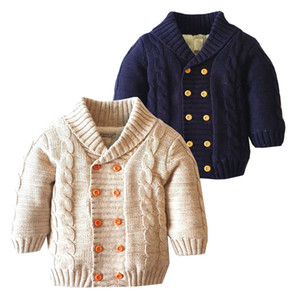 Compras on-line para crianças Casacos de inverno manga comprida velo forro quente roupa do bebê Casual Algodão Knit Cardigan Sweater 18051803