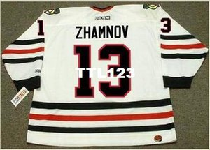Mens # 13 ALEX ZHAMNOV Chicago Blackhawks 2002 CCM Retro Home Hockey Jersey o personalizzato qualsiasi nome o numero retro Jersey