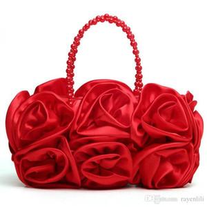 Donne Rosa del raso colore puro Borse da sera Borse da sposa signore dolci mano laminati Totes Packs Cena Bride Bag Smyxst-e0104