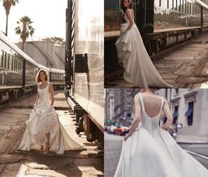 2018 BHLDN Aline Бич свадебные платья площади шеи Sweep Поезд атласная Backless Страна свадебное платье плюс размер Дешевые свадебные платья
