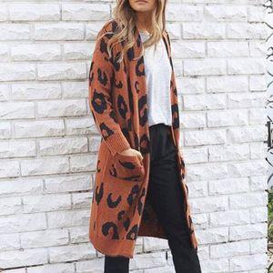 ISHOWTIENDA Cardigan Suéter Femenino 2018 Largo Más Tamaño Cardigan Suéteres Casual Estampado de Leopardo Abrigo Mujeres Sueter mujer