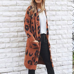 ISHOWTIENDA Cardigan Feminino Camisola 2018 Longo Plus Size Cardigan Blusas Casaco de impressão de Leopardo Casuais Mulheres Sueter Mujer