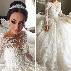 Dubai Elegant Long Sleeves A-line Wedding Dresses Sheer Crew Neck Lace Appliques Pearls Vestios De Novia Bridal Gowns with Buttons