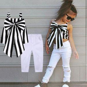 아이 디자이너 옷 2019 여름 아기 여자 의상 소녀 세트 격자 무늬 의류 어깨 스트랩 활 스트라이프 탑 롱 바지 아동 복장 2 PC를