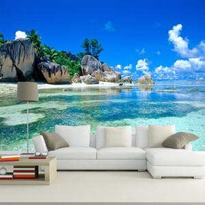 사용자 정의 벽화 배경 3D 바다 바다 해변 사진 배경 침실 거실 벽 그림에 대 한 부직포 벽지 홈 장식