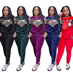 Women Sequin Velvet Tracksuit Paillette Pullover Hoodie T-shirts + pants Autumn Patchwork Joggers Set 2 Piece Clothes Set Outfit Sportswear