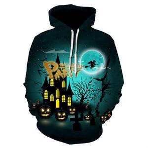 Cadılar bayramı balkabağı Hoodies Cadı Baskılı Kapşonlu Tişörtü kale 3D Kapşonlu Kazak Erkekler Kadınlar Uzun Kollu Kabanlar Hoodie