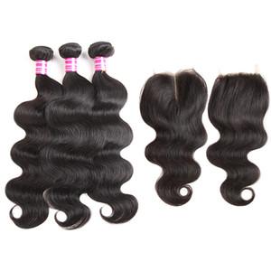8A brezilyalı virgin kapatma ile insan saç atkı 3 paket vücut dalga örgü ve 4x4 ücretsiz orta kısmı dantel kapatma