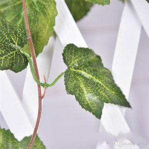 Simulation Traubenblatt Rattan Lvy Kunstseide Blätter grüne Pflanze Wandbehang verzieren Blume Rattan Eco Friendly 2rx cc