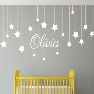 Имя пользовательские звезды и Луна детские стены искусства питомник детские декор стены стикеры детский сад дети для спальни ребенка T170307 Y18102209