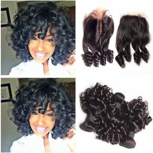Девственница малазийский тетушка Funmi человеческих волос с верхней закрытия романтика кудри Малайзийские волосы ткет 3 пучка сделок с 4x4 передние кружева закрытия