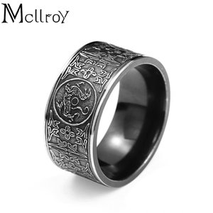 Mcllroy Classic Rings Anello da uomo Four corner Mythical Dragon Simboli greci Retro Titanium steel Male Gift Punk aneis viking