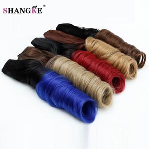 SHANGKE HAIR 24 '' Длинные волнистые 5 зажимов для наращивания волос Цветные удлинители Ombre Термостойкие синтетические зажимы для поддельных заколок