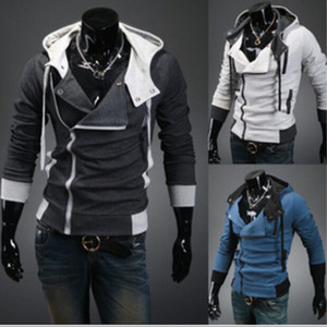 Mens Assassins Creed 3 Kapuzenmantel Jacke Fashion Oblique Zipper Slim Hoodies Mantel Männlich Casual Fit Langarm Sweatshirts Jacke Mantel Tops
