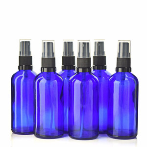 6 X 100ml Cobalt Blue Glass Bottle With Fine Mist Spray for Aromatherapy Perfume Essential oils Empty Cosmetic Containers