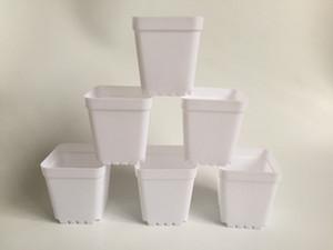 D7XH7.5cm mini potes de berçário plásticos brancos plásticos planos quadrados Pots pequenos plantadores de flores SF-135B