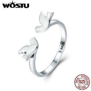WOSTU реальный стерлингового серебра 925 чистая любовь голуби любовь палец кольца для женщин мода кольцо серебро ювелирные изделия любовник подарок Cqr245