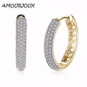 AMOURJOUX Full Clear Zircone riempito champagne color oro clip rotonda orecchini per le donne polsino clip su orecchini femminili cerchi
