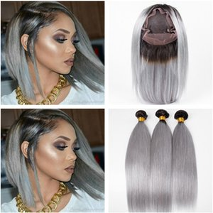 Droit # 1B / Gris Ombre 360 Fermeture Frontale Full Lace 22.5x4x2 Pré pincé avec 3 faisceaux Ombre Silver Grey Virgin cheveux brésiliens tisse