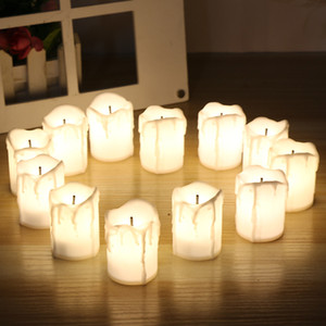 12 pçs / set Dia Das Bruxas LED Velas Sem Chama Temporizador vela tealights Bateria Luzes Elétricas Piscando Tealight para o Aniversário de casamento