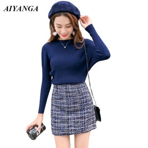 2018 New Fashion Autumn Sexy Sheath O-Neck Full Sleeve Sweaters Pullovers + High Waist Woolen Mini Skirts Two Pieces Women Sets