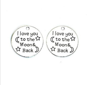 60Pcs alloy I Love You to the Moon and Back Charms Antique silver Charms Pendant For necklace Jewelry Making findings 25mm