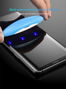 3D-Curved Voll anhaftender Kleber-Kasten Freundliche gehärtetes Glas für Samsung Galaxy Note 9 8 S9 S8 Plus-S7 Edge-UV-Licht