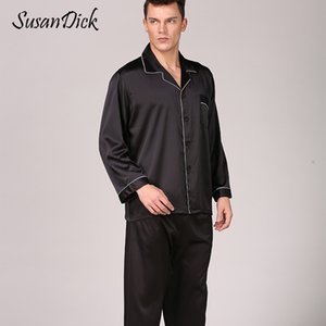 SusanDick Black Silk Pajamas Sets Men Spring Autumn  Satin Sleepwear Set Long Sleeve Solid Man Casual Home Clothes Pijama