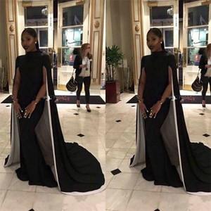 Abiti da sera neri classici della sirena del collo del collo alto vestito arabo convenzionale saudita del rilievo del vestito dal collo alto Saudi su ordine