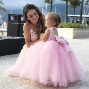 2019 Vintage Blush Pink Princess Flower Girl Dresses Appliqued Lace Bow Flowergirl Vestidos palabra de longitud vestidos de fiesta de cumpleaños para niñas