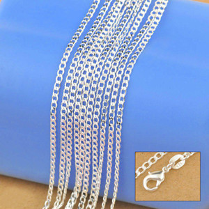 """2015 New Factory Sale 10PCS 16""""-30"""" Genuine Solid 925 Sterling Silver Fashion Curb Necklace Chain Jewelry with Lobster Clasps Free"""