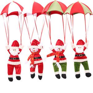 Weihnachtsbaum hängende Dekor Fallschirm Schneemann Weihnachtsmann Puppe gefüllte Anhänger Ornamente Dekorationen Weihnachtsgeschenk 4 Farben WX9-973