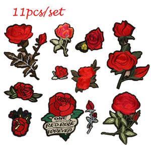 Sticken Sie Stickerei-Rosen-Blumen-Eisen auf Flecken-Ausweis-Applikations-Flecken mit Kleber-Kleidungs-Art und Weisezusatz 11pcs / set