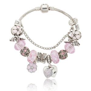 Pink sakura love heart Pendant Charms Bracelet for Pandora 925 Silver 3mm Snake Chain Charm Bracelets for Women with Original logo