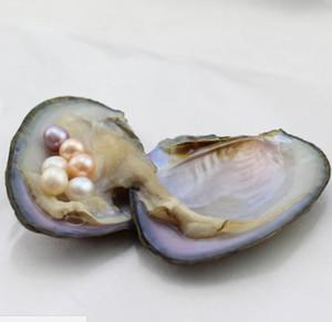 FANSTIC cadeau Akoya BLANC ROSE POURPRE coquille d'eau douce ROND CRÈME huître perlière 6-8mm 27 couleurs huître perlière avec emballage sous vide