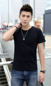 Chun xia cor pura rodada gola manga curta T-shirt dos homens da moda de manga curta T-shirt.