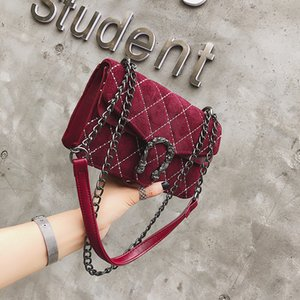 British Retro Female bag 2018 Fashion New Handbag Velluto di alta qualità Woemn bag Chain Square Shoulder Messenger del telefono