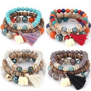 Women Wood Beads Bracelets Fashion Boho Small Elephant Charm Lady Bracelets Set Vintage Style popular Jewelry Free Shipping