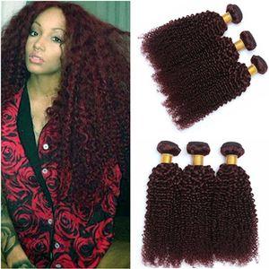 # 99J Vinho Vermelho Humano Bundles Bundles Deals Kinky Curly 3 Pcs Borgonha Vermelha Virgem Peruana Peruana Curly Human Weaves Extensões 100g / Bundle