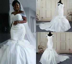 Echte Bilder Meerjungfrau Brautkleider aus Schulter Afrika Satin Spitze Appliques Lace Up Plus Size Brautkleider Perlen Land Hochzeitskleider