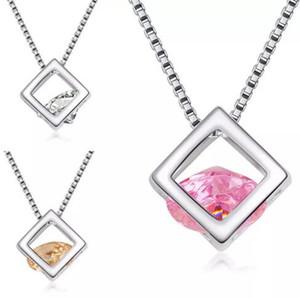 Argent Plaqué Cubique Zircon Boîte Collier CZ Diamant Cristal Magique Cube Pendentifs Mode Bijoux Cadeau pour les Femmes