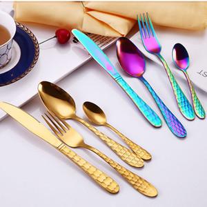 4pcs / Set New Multicolor arc-en-Dîner Couverts Voyage mariage dîner en acier inoxydable couteau fourchette Scoops Argenterie Set drop ship