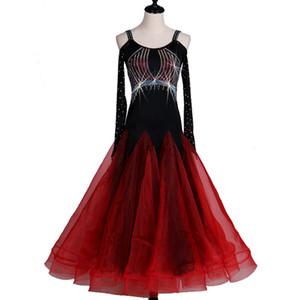 Mode nouvelle danse moderne performance compétition vêtements haute qualité flash perceuse robe de danse standard national