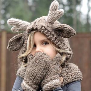 Дети Зимняя шерстяная шапка лось с капюшоном шапки шарф перчатки 3 в 1 комплект рождественский олень детские теплые вязание шапки подарок Лось Crocket шапочка для мальчиков девочек