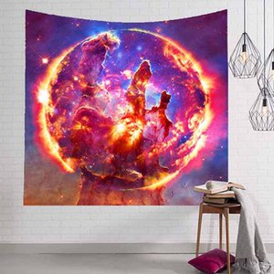 사이키델릭 갤럭시 태피스트리 별이 빛나는 하늘 벽 매달려 홈 장식 인쇄 된 Macrame 장식 Tapisserie 패브릭 거실 침대 룸 150x130cm